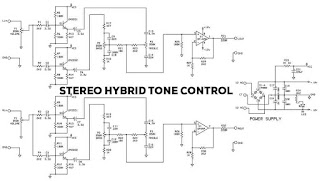 Stereo Hybrid Tone Control Circuit diagram