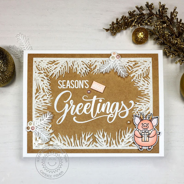 Sunny Studio Stamps: Season's Greetings Hogs & Kisses Christmas Garland Frame Dies Christmas Card by Candice Fisher