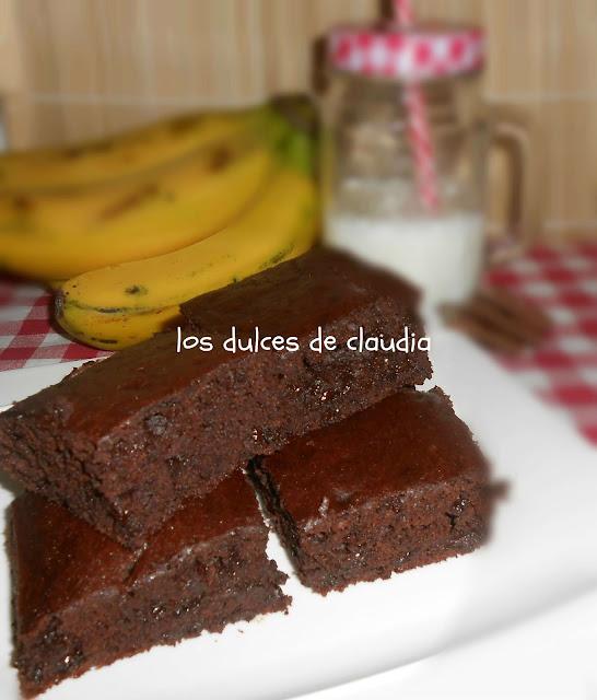 bizcocho de chocolate y platano