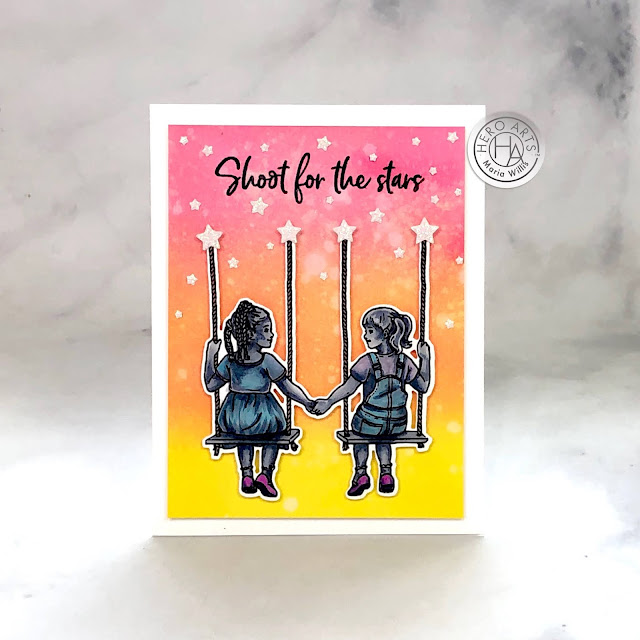 Hero Arts, Kids United, stamp, ink, paper, paper craft, card, card making, handmade, art, color, ink blending,#copicmarkers,copics,