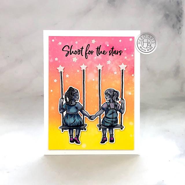Hero Arts, Kids United, stamp, ink, paper, paper craft, card, card making, handmade, art, color, ink blending,#copicmarkers,copics,