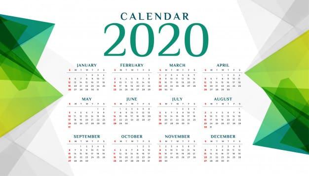 Plantilla de calendario 2020 geométrico gratis