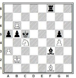 Estudio artístico de ajedrez compuesto por Y. Afek (Tidskrift för Schack 1972, 2º Premio)