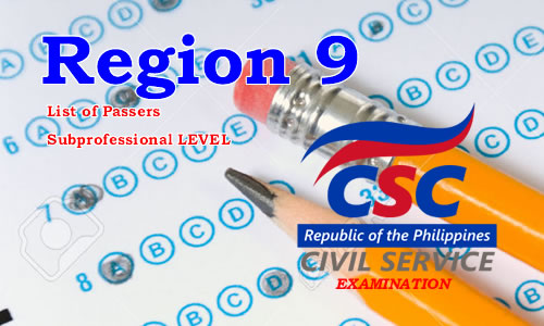 List of Passers Region 9 August 2017 CSE-PPT Subprofessional Level
