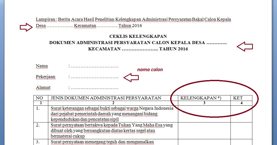 Dokumen Administrasi Syarat Daftar Calon Kepala Desa Abdi Desa