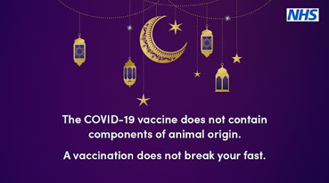 COVID vaccine doesn't break fast, contains no animal products image showing relevant Ramadan gold items on dark background