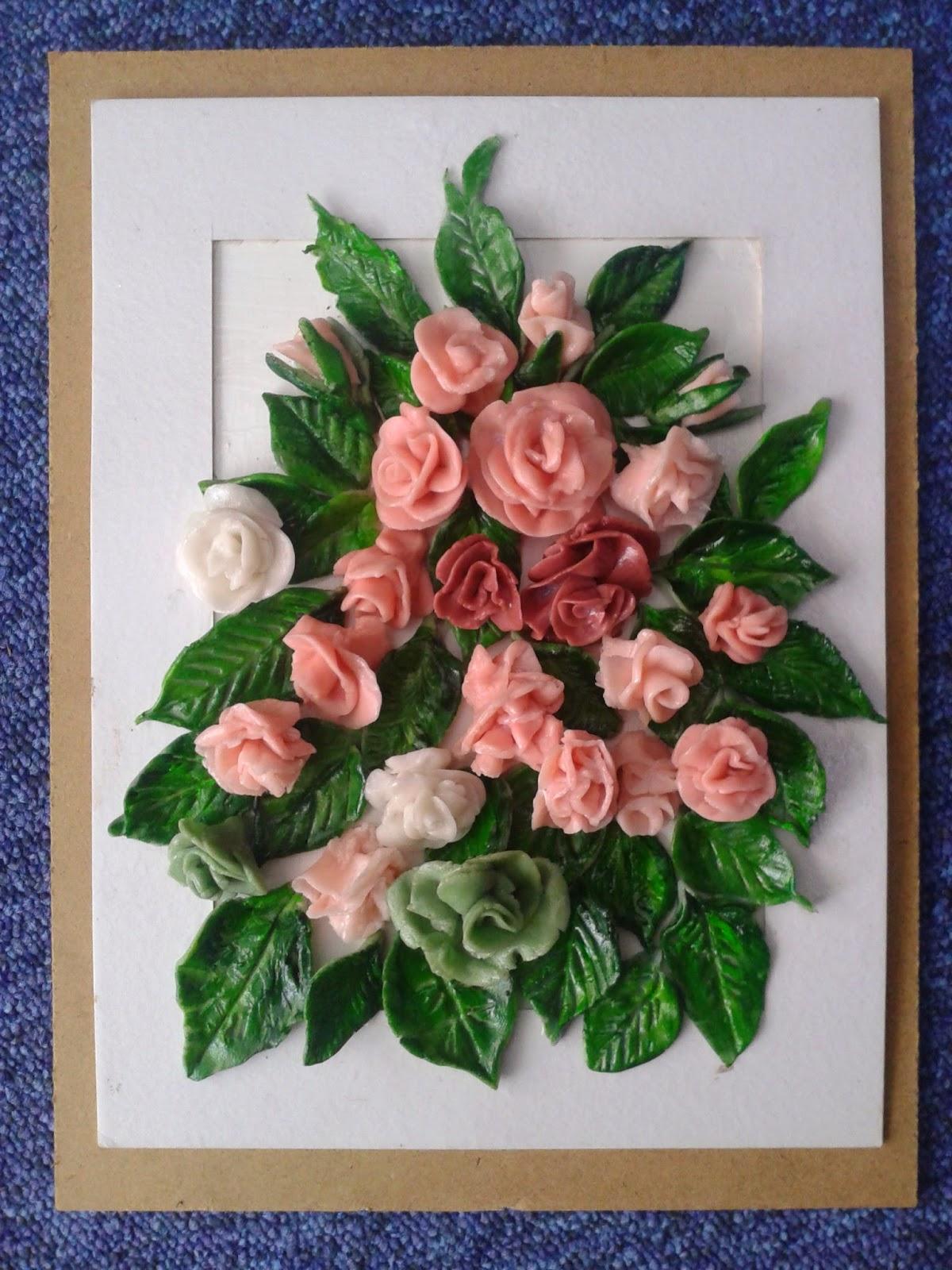 obrazy, różę z zimnej porcelany