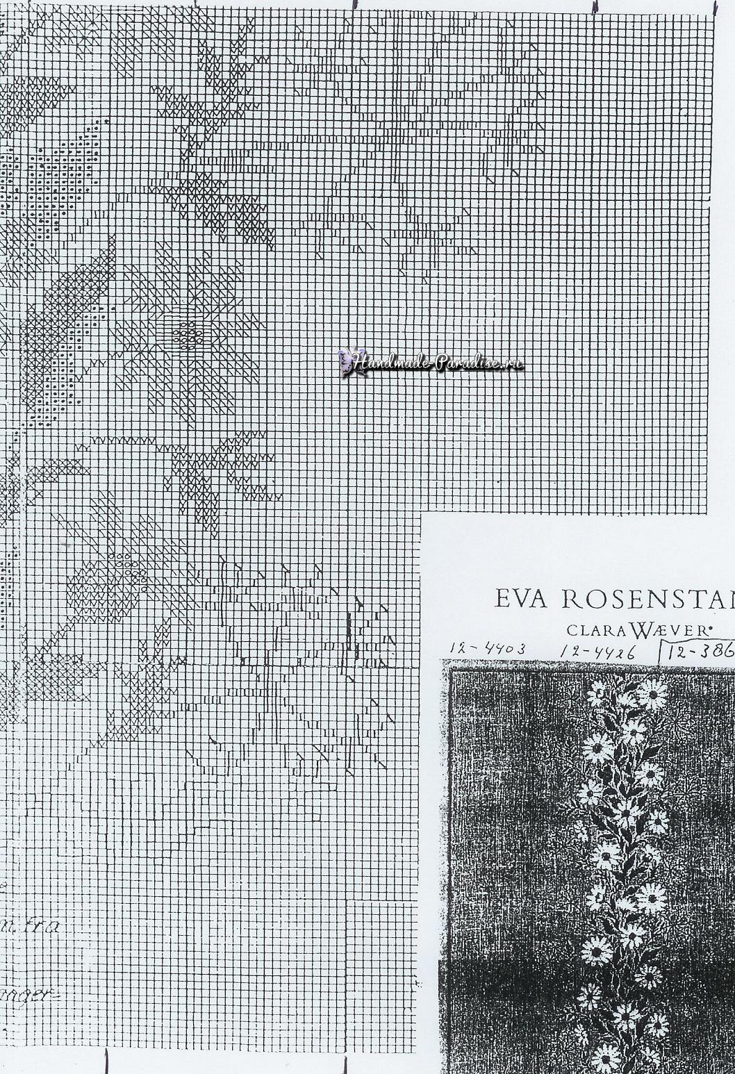 Ромашки на скатерти. Схемы вышивки крестом