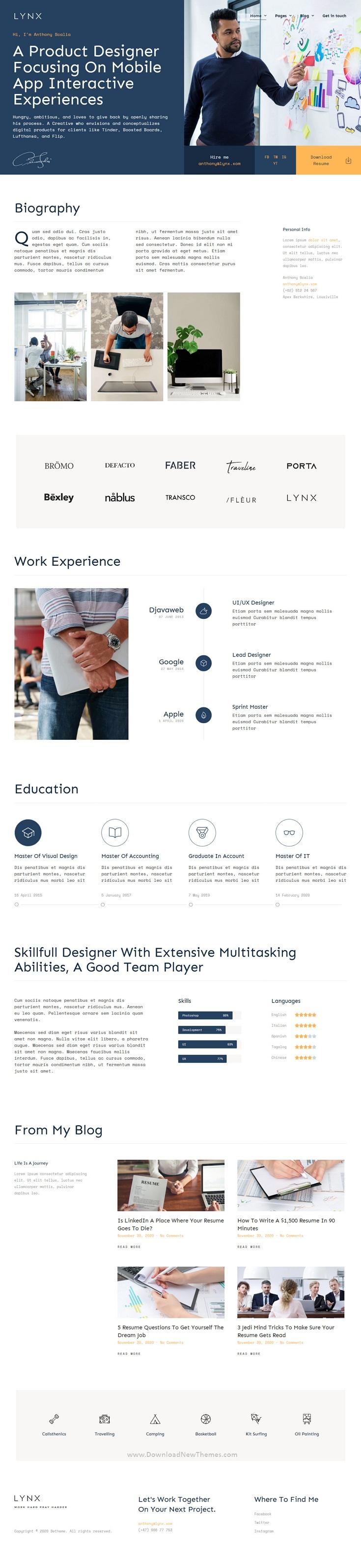 Resume and CV Elementor Template Kit