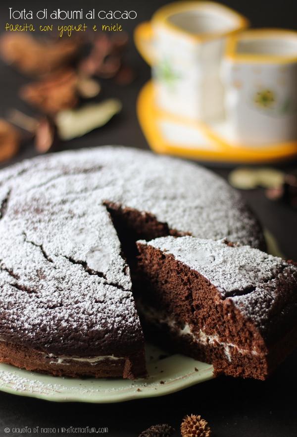 Torta di albumi al cacao farcita con yogurt e miele