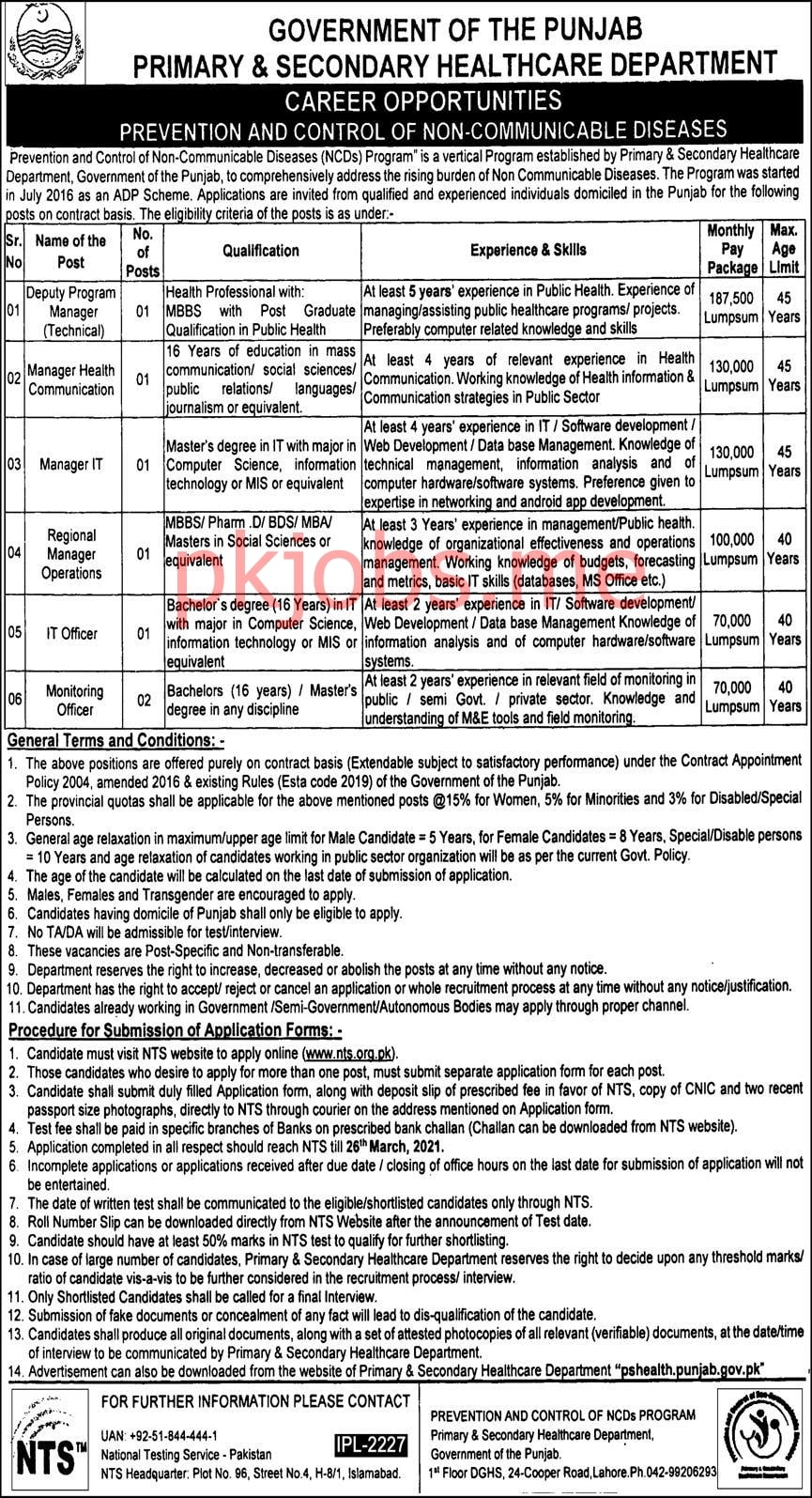 Latest Primary & Secondary Healthcare Department Management Posts 2021