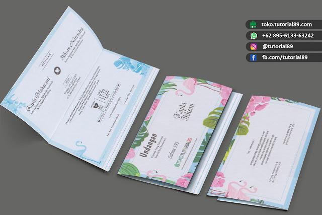 Undangan pernikahan 89.S191 - Seimpel Lipat 2 +stiker label undangan