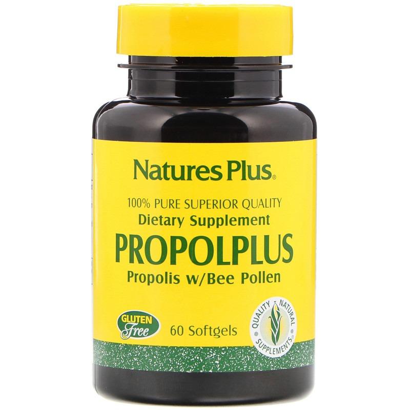 Nature's Plus, Propolplus, прополис с пчелиной пыльцой, 60 капсул