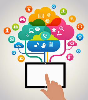 illustration of an ipad connected to social media icons.