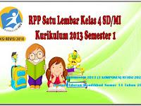 RPP Kelas 4 SD/MI Satu Lembar Semester 1 Kurikulum 2013