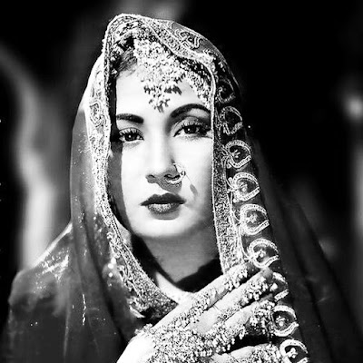 black and white image of Bollywood actress Meena Kumari in full traditional Indian dress