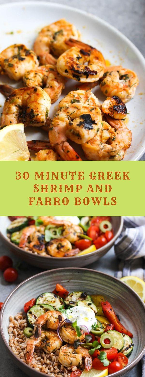 30 MINUTE GREEK SHRIMP AND FARRO BOWLS