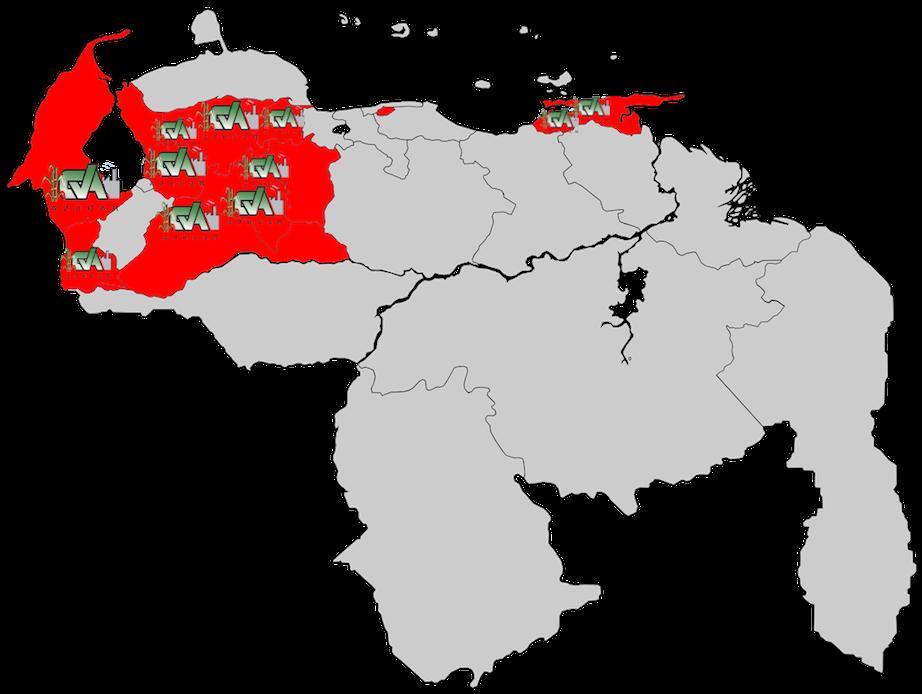 mapa de Venezuela con ubicación de centrales azucareros
