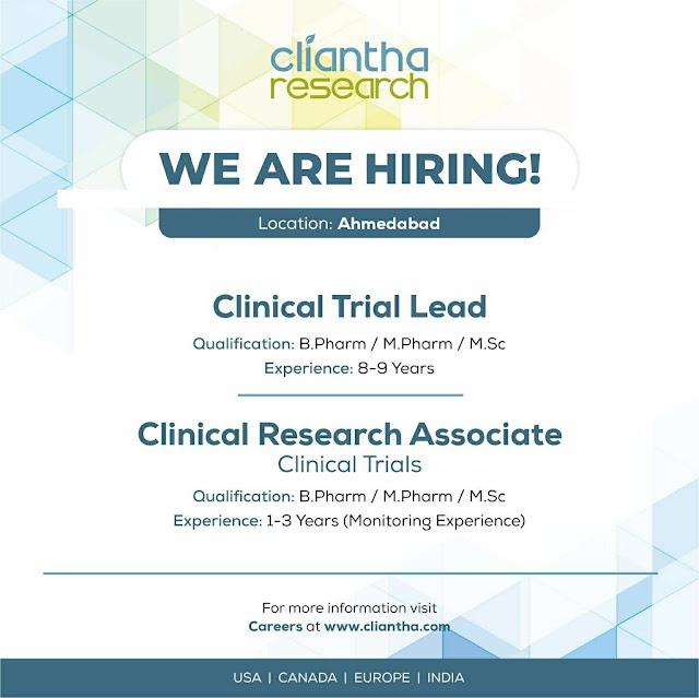 Clinitha Research hiring for B.Pharm / M.Pharm / M.Sc Candidates