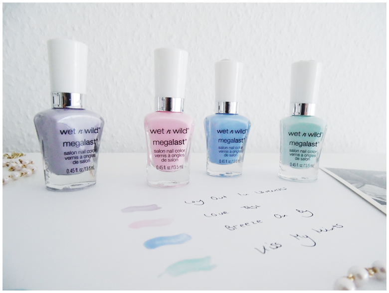 beauty   wet'n'wild   nail polish   lay out in lavender, love fest, breeze on by & kiss my mints   more details on my blog http://junegold.blogspot.de   life & style diary from hamburg   #beauty #wetnwild #wetnwildbeauty  #nailpolish #megalastnailpolish #layoutinlavender #lovefest #breezeonby #kissmymints
