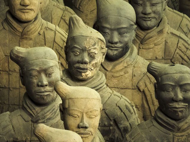 Faces of the Ancient Terracotta Army in Xi'an China