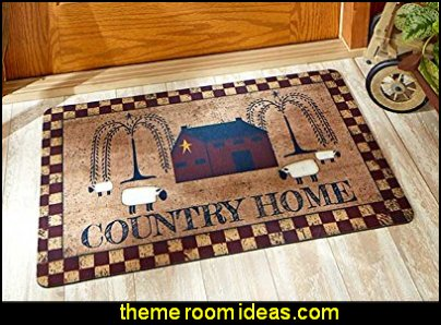 Country Home Mats  primitive americana decorating style - folk art - heartland decor - rustic Americana home decor - Colonial & Country style decorating Americana bedroom designs - Primitive Country Rustic decor