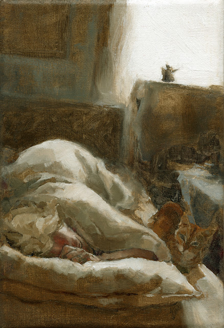 Figurative Interior Oil painting of Bedroom with Woman and Cat