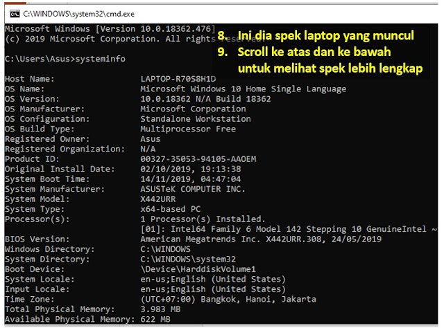 cara cek spesifikasi laptop di cmd - step 3