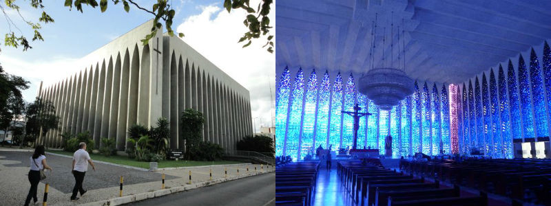 Exterior and interior views of the Sanctuary of Dom Bosco