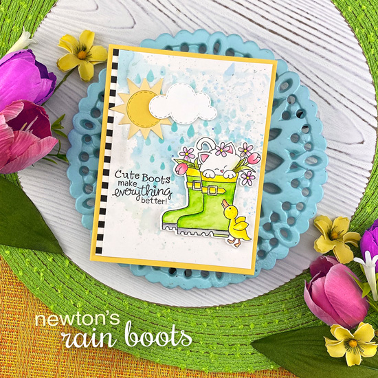 Spring kitty in Rainboots Card by Jennifer Jackson | Newton's Rain Boots Stamp Set, Raindrops Stencil, and Sky Scene Builder Die Set by Newton's Nook Designs #newtonsnook #handmade
