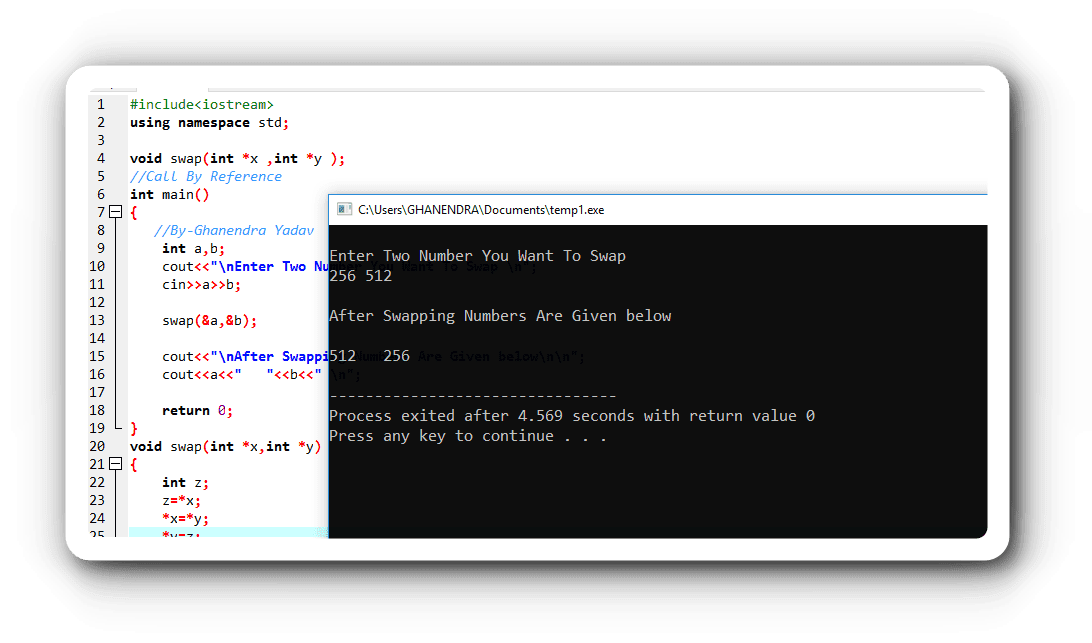 Program Output of Swapping of Two Numbers Using Call by Reference