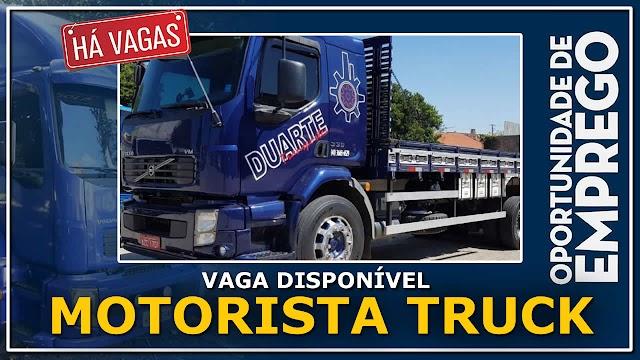 Duarte Transportes abre vagas para Motorista Truck e Bitruck