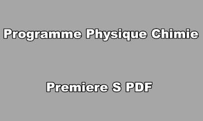 Programme Physique Chimie Premiere S PDF