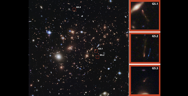 Hubble Space Telescope image of the field containing a massive foreground galaxy cluster, MACSJ0717.5+3745. Pope and colleagues' dusty galaxy is denoted by the red squares which show three images of the same gravitationally lensed background galaxy. A zoom in of each multiple image is shown in the right panels.  Credit: Original image by NASA, European Space Agency and the Hubble Space Telescope Frontier Fields team. Color composite from Wikimedia Commons/Judy Schmidt; annotations and zoom panels added by A. Montana.