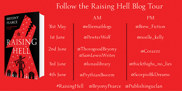 Raising Hell by Bryony Pearce blog tour banner