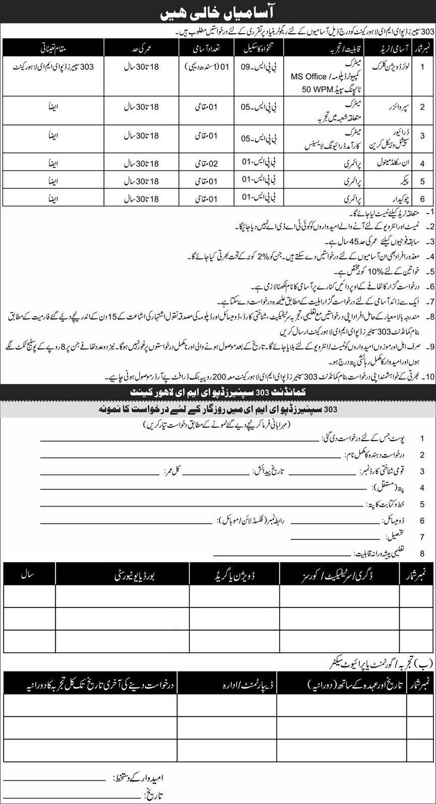 303 Spares Depot EME Lahore Cantt Jobs