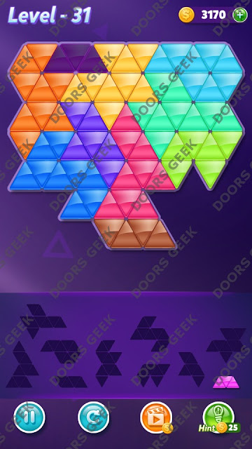 Block! Triangle Puzzle Master Level 31 Solution, Cheats, Walkthrough for Android, iPhone, iPad and iPod