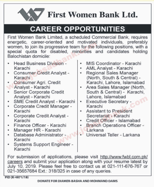First Women Bank Limited Jobs June 2019 July Apply Online Universal Tellers, Sales Managers & Others FWBL Latest 2019