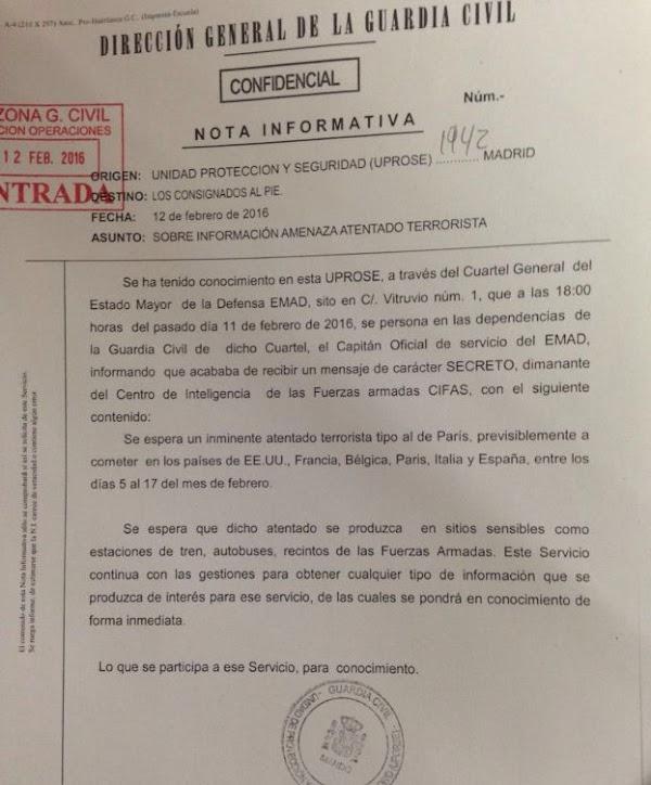 España amenazada atentado terrorista, febrero 2016