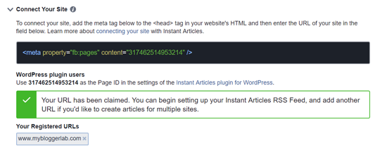 Facebook Instant Article URL Claimed Blogger