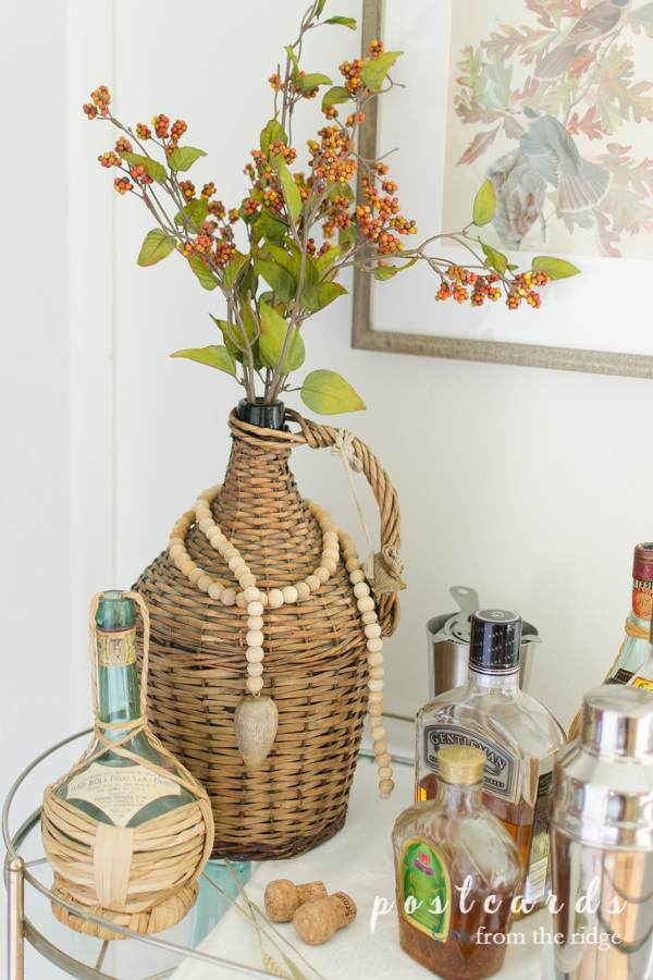 vintage wicker wrapped wine bottles