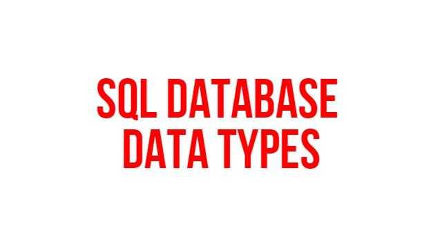 SQL database Data types