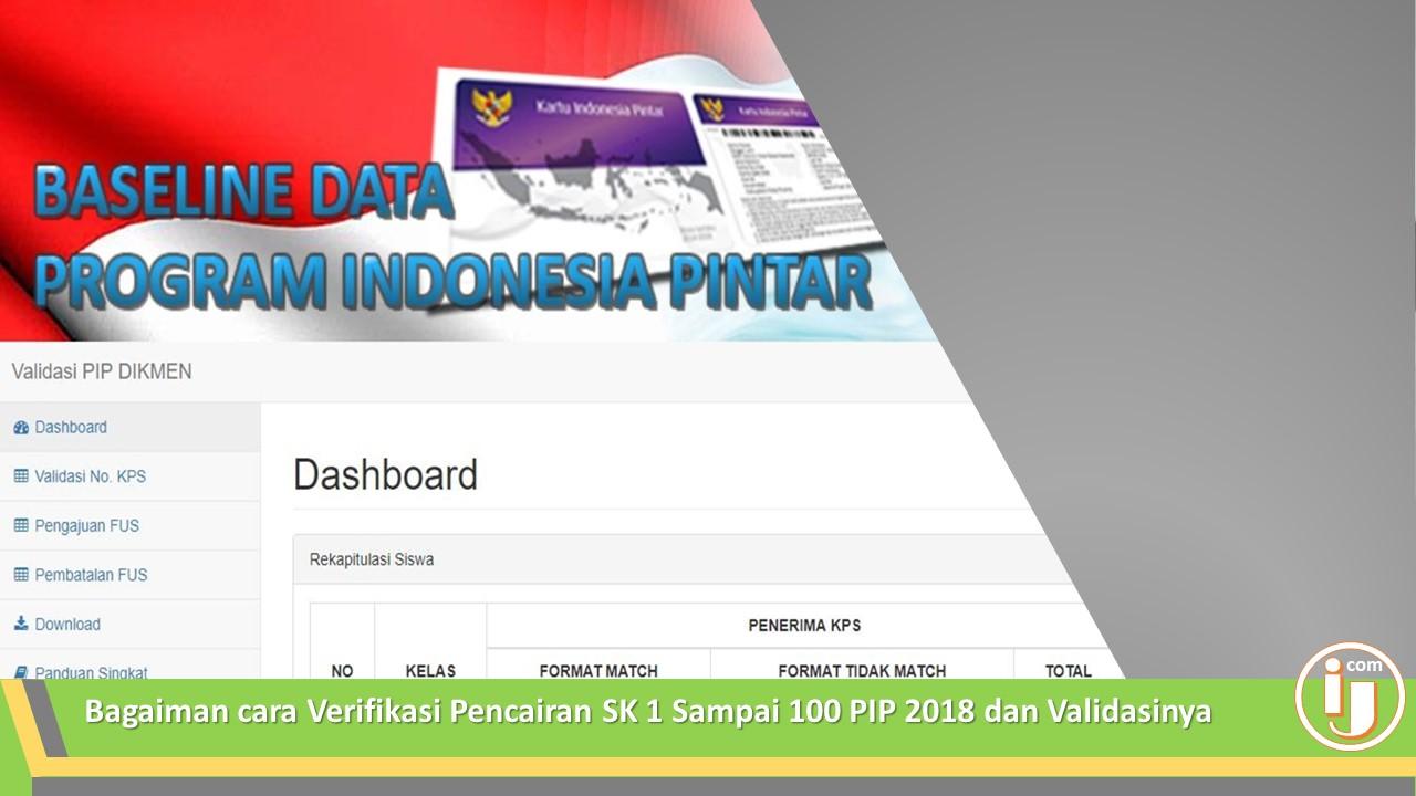Bagaiman cara Verifikasi Pencairan SK 1 Sampai 100 PIP 2018 dan Validasinya