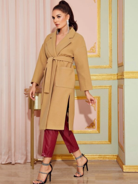 Camel coat with side slits