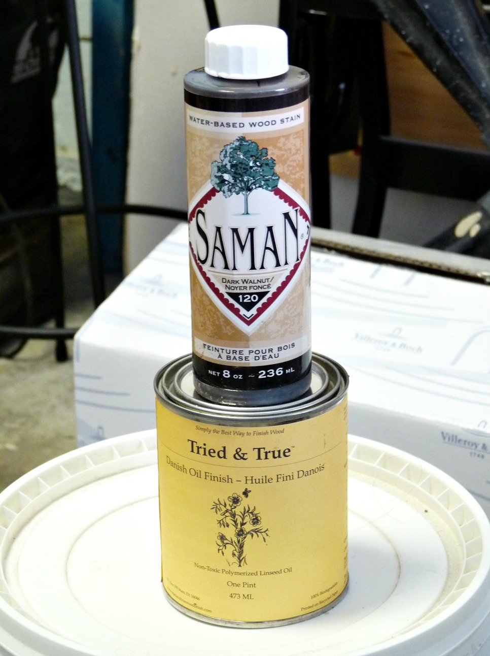 Tried and True Danish Oil; Saman Brand Stain Dark Walnut