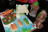 gnome vegetable garden carrots lettuce