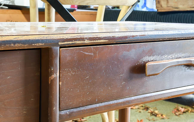 Damage to mid century modern desk
