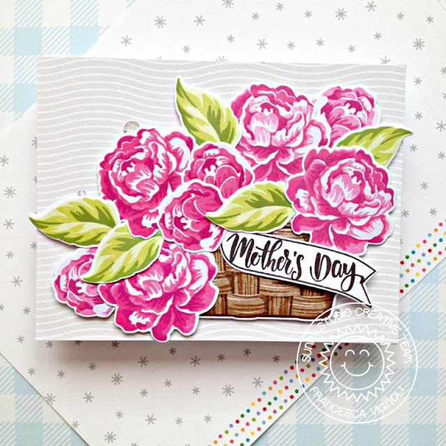 Sunny Studio Stamps: Captivating Camellias Layered Basket Banner Basics Mother's Day Card by Franci Vignoli