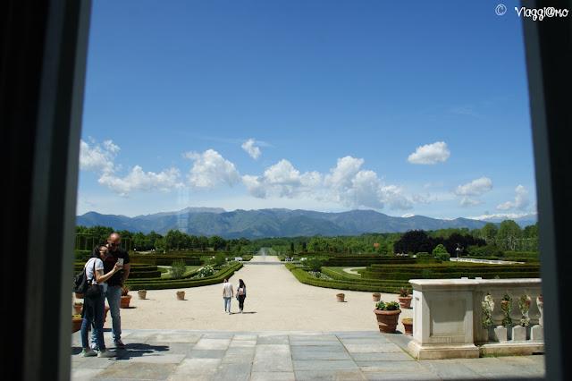 Vista sui Giardini della Reggia di Venaria dalla Sala di Diana