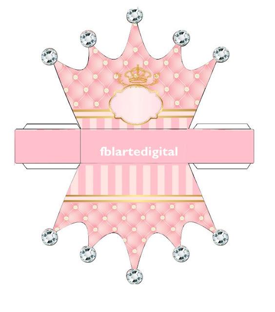 Corona Dorada en Fondo Rosa: Caja con Forma de Corona para Imprimir Gratis.